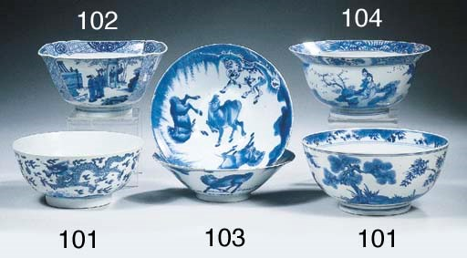Two fine blue and white bowls