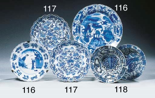 A set of sixteen blue and whit