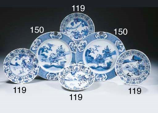 A set of seven blue and white