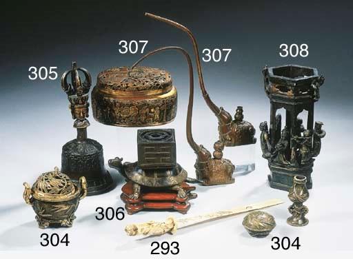 A Sino Tibetan bronze handbell