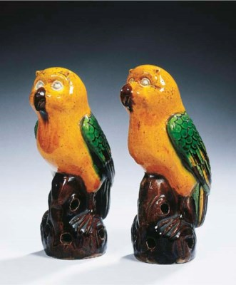 A rare pair of sancai-glazed m
