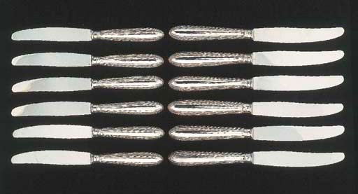 Six English silver table knive
