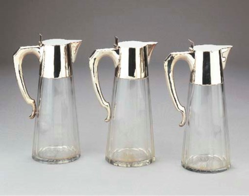 Three silver-mounted cut-glass