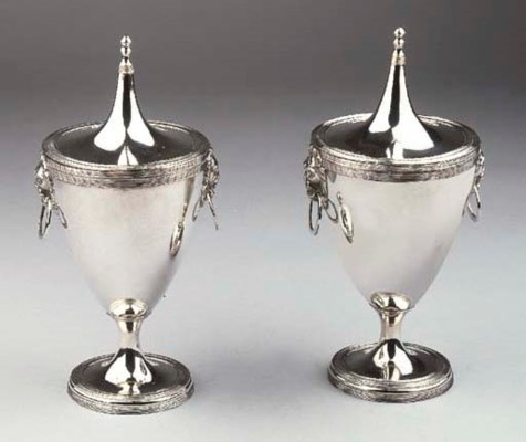 A pair of Dutch silver vases w