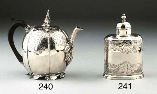 An English silver teacaddy