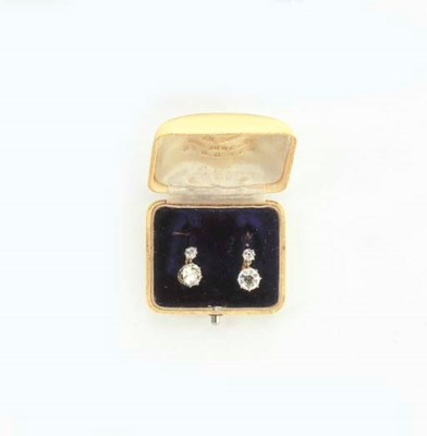 A PAIR BELLE EPOQUE DIAMOND EA