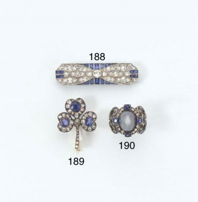TWO ANTIQUE SAPPHIRE AND DIAMO