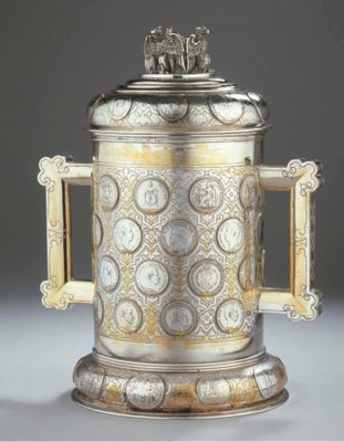 A German silver coins cup with