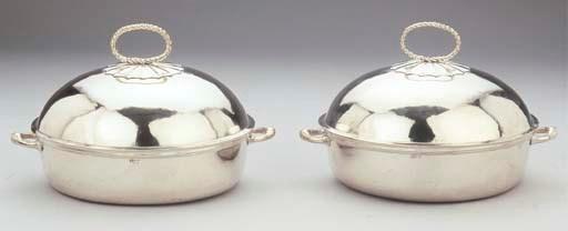 A pair of silver terrines