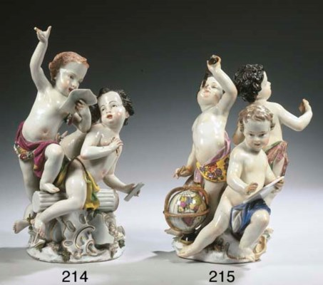 A Meissen porcelain group of p