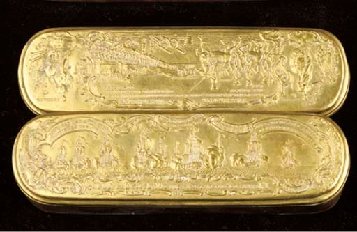 A German brass tobacco box