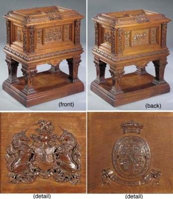 An English carved oak wedding-