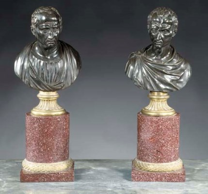 A pair of bronze busts of Juli