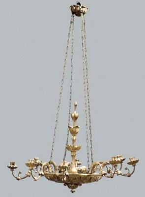 A giltwood eight light chandel