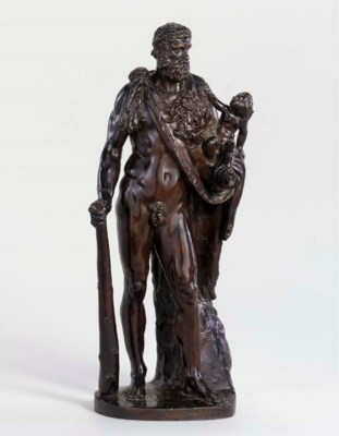 A BRONZE FIGURE OF HERCULES AN