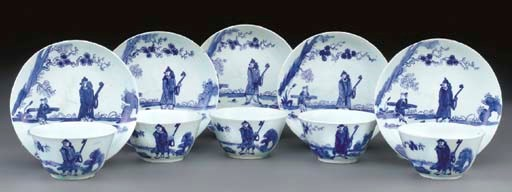 Five Bow blue and white teabow