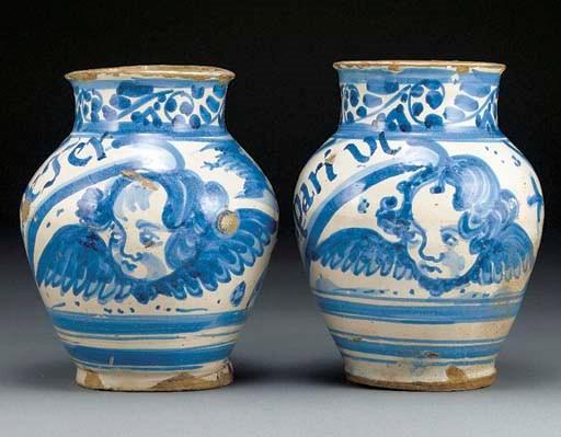 A pair of Spanish faience blue