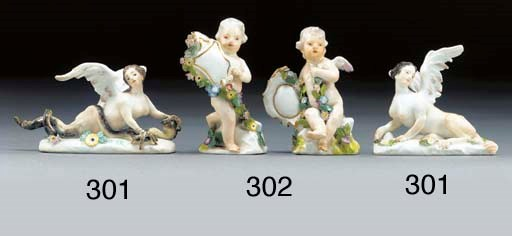 Two Meissen models of putti