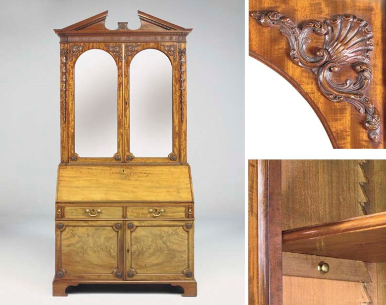 A George III mahogany bureau-cabinet, attributed to Thomas Chippendale . 94  in (239  cm) high; 47¾  in (121.5  cm) wide; 24¾  in (63  cm) deep. Sold for £226,650 on 4 July 2002  at Christie's in London