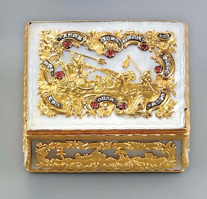 A SAXON ROCOCO JEWELLED GOLD A