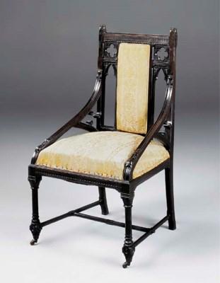 A carved ebony armchair