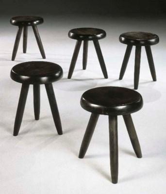 Five ebonised oak stools
