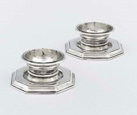A pair of silver salt-cellars