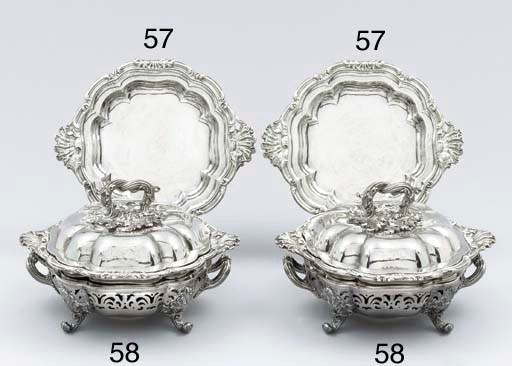 A pair of William IV silver en