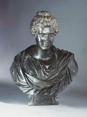 A BRONZE BUST OF A CLASSICALLY