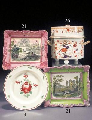 A pottery pink-lustre plaque