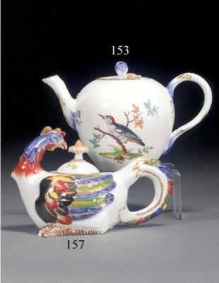 A Meissen cockerel teapot