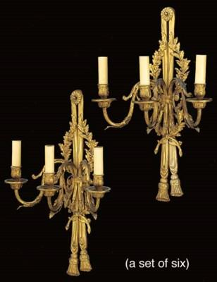 A set of six gilt metal three
