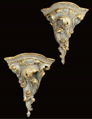 A pair of Italian parcel gilt