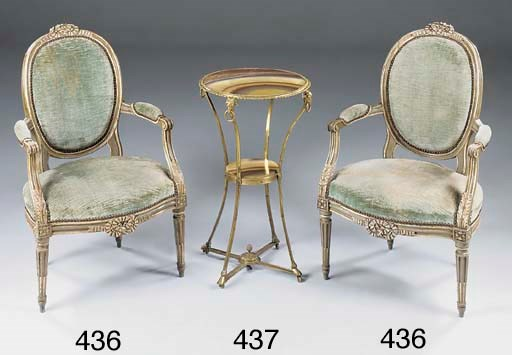 A PAIR OF DECORATED FAUTEUIL E