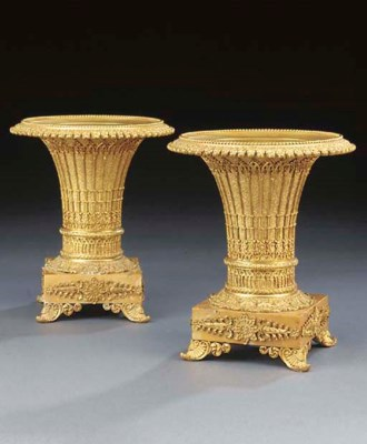 A pair of Charles X gilt bronz