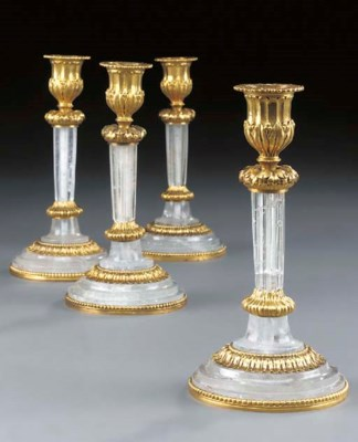 A set of four gilt metal and r