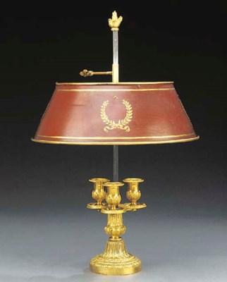 A French gilt bronze three lig