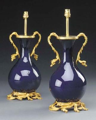A pair of gilt metal mounted b