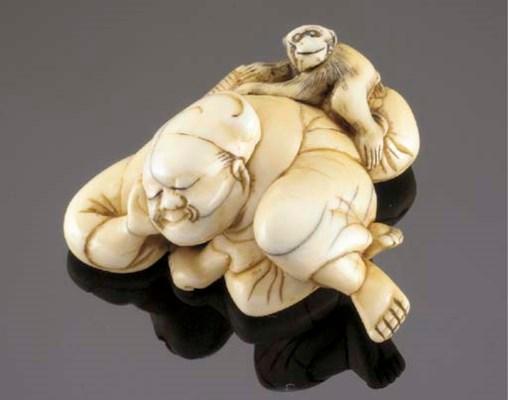 An ivory netsuke of a Sarumawa