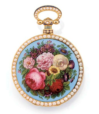A GOLD, ENAMEL AND PEARL SET O
