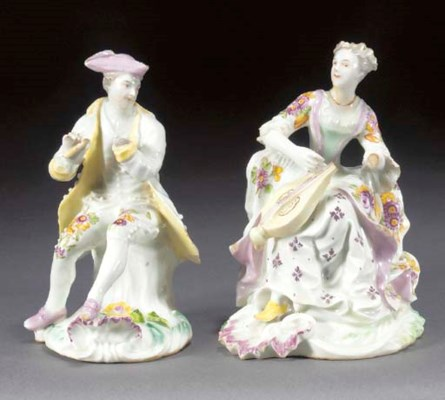 Two Derby figures of a musicia