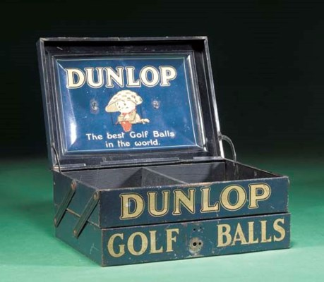 A DUNLOP TWO-SECTION TIN GOLF