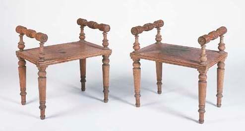 A pair of late Regency oak hal