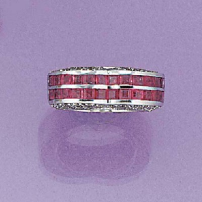 A diamond and square cut ruby