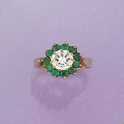 A diamond and emerald cluster