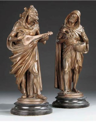 A pair of Continental spelter