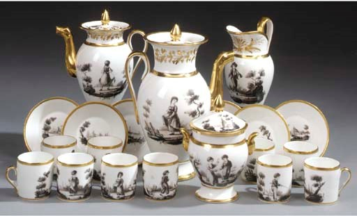 A Continental porcelain tea an