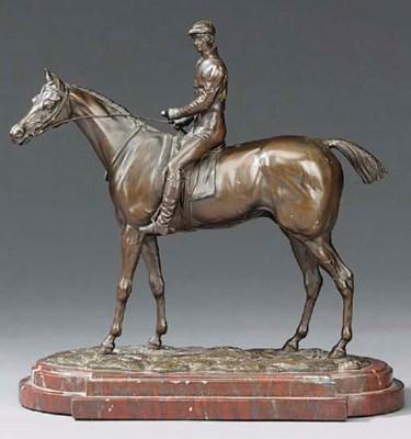 A bronze equestrian group, pos