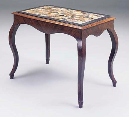 A SPECIMEN MARBLE TOP ROSEWOOD