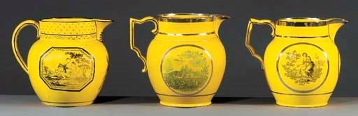 Three pottery canary-yellow-gr